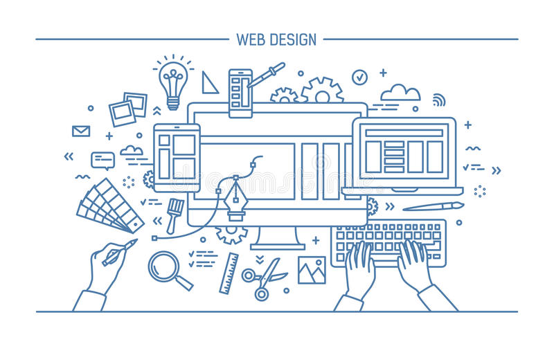 Web development, line art banner. site with responsive design. flat vector illustration. vector illustration