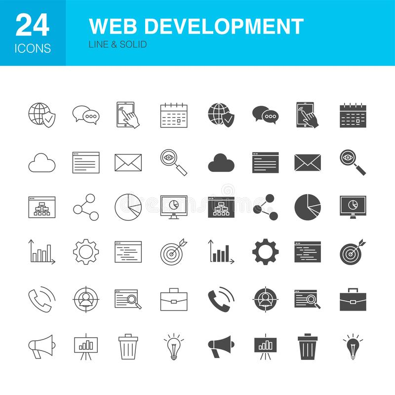 Web Development Line Glyph Icons stock illustration
