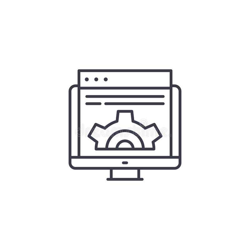 Web development linear icon concept. Web development line vector sign, symbol, illustration. stock illustration