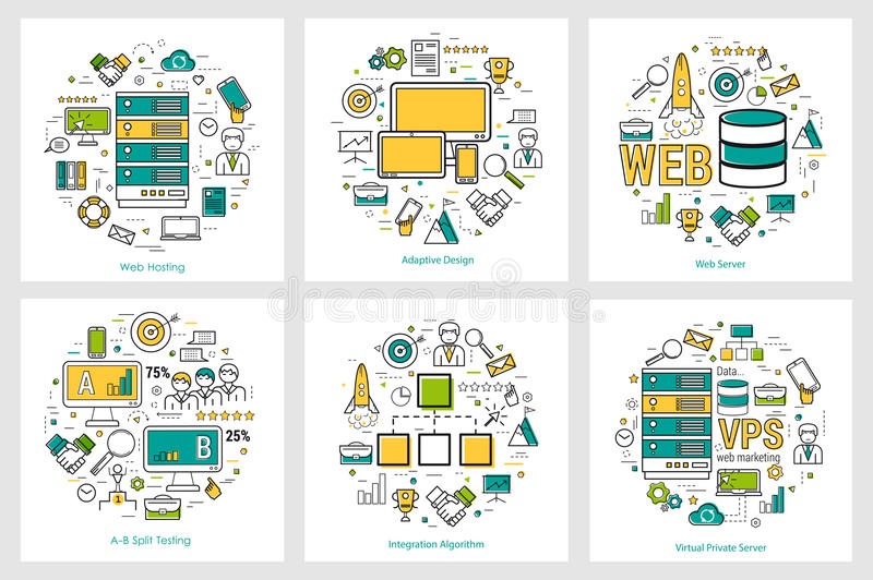 Web development - linear round concepts stock illustration