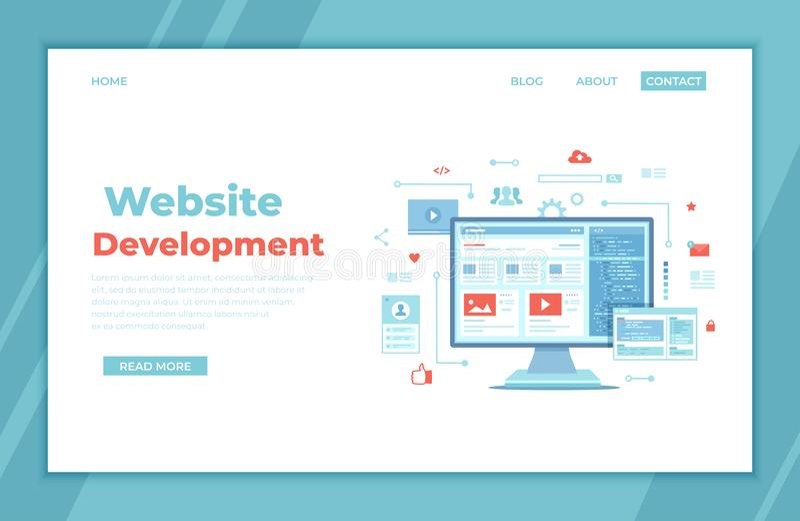 Web development, optimization, user experience, user interface in e-commerce. Website layout elements, photo, video, program code royalty free illustration
