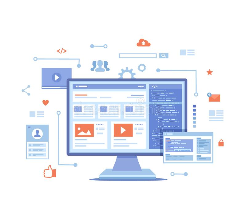 Web development Optimization User experience User interface in e-commerce. Website layout elements, photo, video, program code, se. Arch bar, site wireframe vector illustration