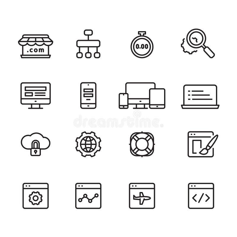Web development outline icons, vector. Web development outline icons on white background, eps 10 stock illustration
