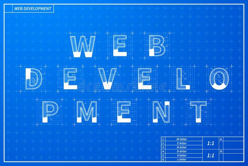 Web development phrase scheme in blueprint style stock vector download web development phrase scheme in blueprint style stock vector illustration of planning graphic malvernweather Gallery