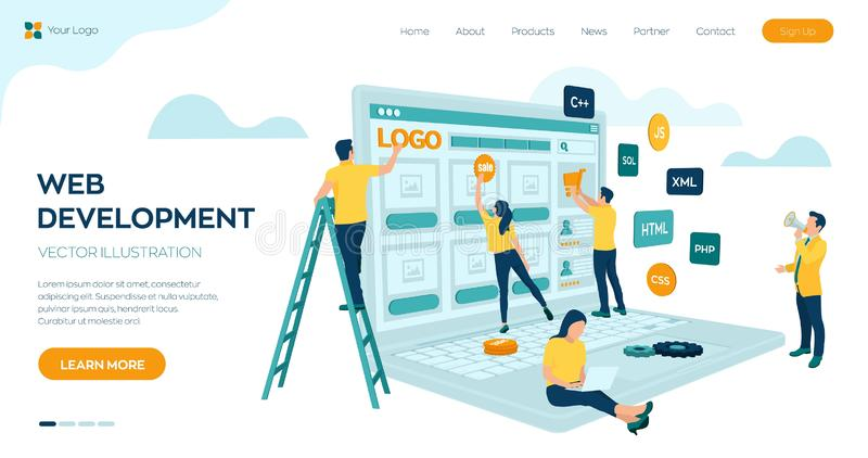 Web development. Project team of engineers for website create. Webpage building. UI UX design. Characters on a concept. Web agency. Template for programmer or stock illustration