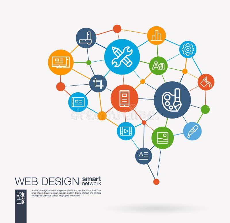 Web development, seo, website creating, app design integrated business vector icons. Digital mesh smart brain idea stock illustration