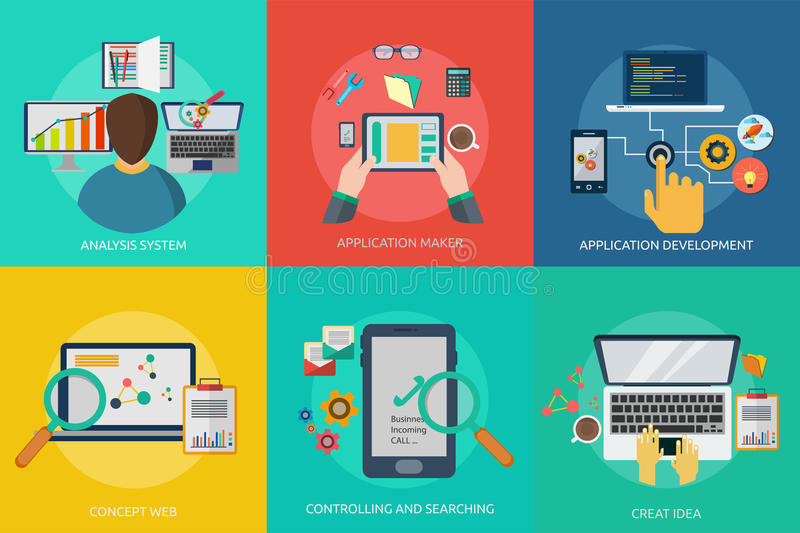 Web and Development. Set of great flat icons with style long shadow icon and use for web, development, concept, marketing and much more royalty free illustration
