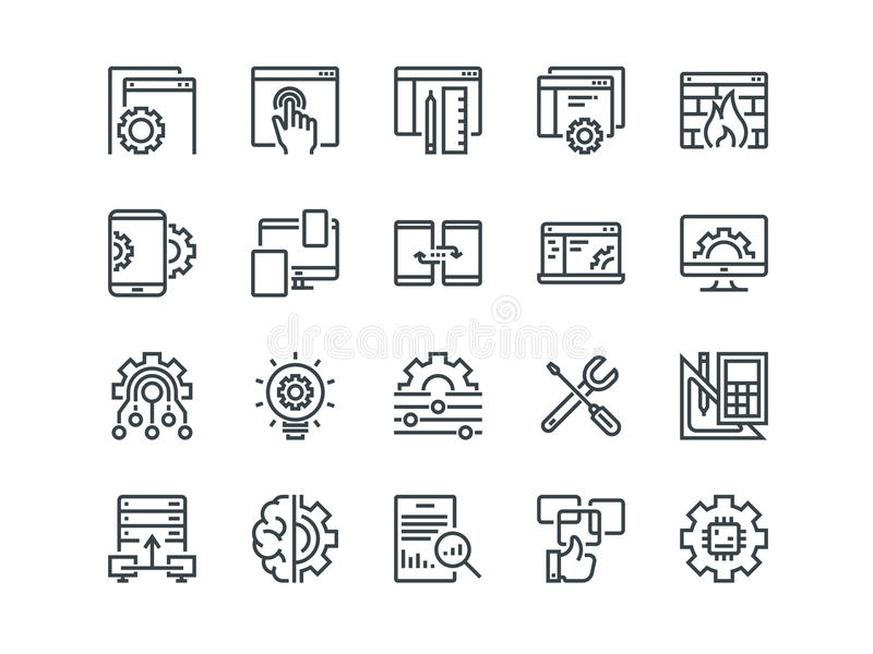 Web Development. Set of outline vector icons. Includes such as UX, Coding, Interface and other. Editable Stroke. 48x48. Pixel Perfect stock illustration