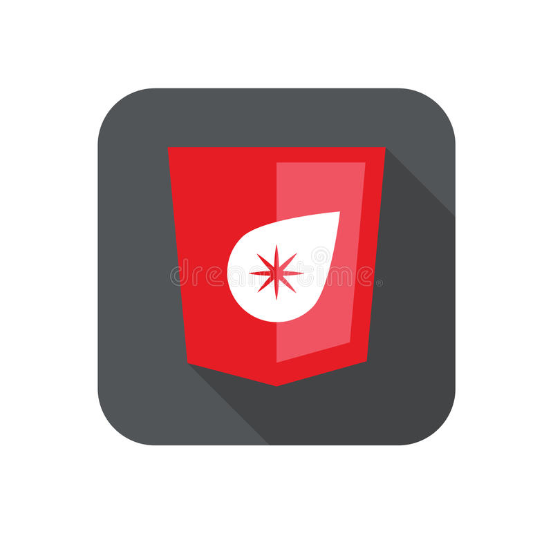 Web development shield red drop star sign isolated icon on grey badge with long shadow royalty free illustration