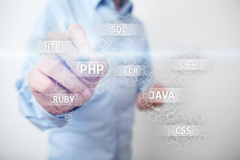 Web development tools concept on virtual screen. Programming language and scripts. PHP, SQL, HTML, Java and others. Web development tools concept on virtual royalty free stock images