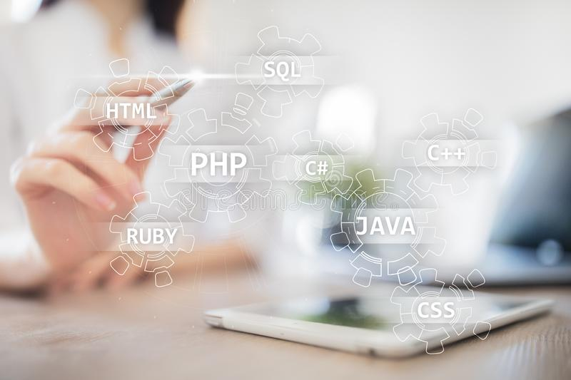Web development tools concept on virtual screen. Programming language and scripts. PHP, SQL, HTML, Java and others. Web development tools concept on virtual stock images