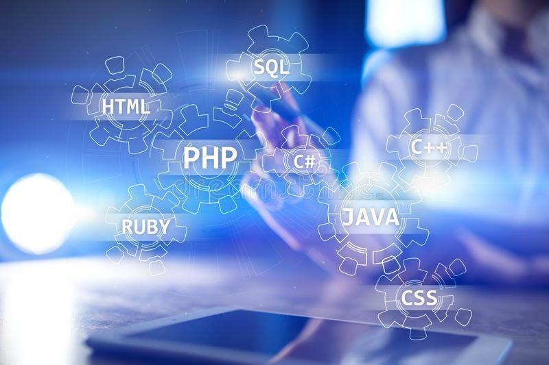 Web development tools concept on virtual screen. Programming language and scripts. PHP, SQL, HTML, Java and others. Web development tools concept on virtual royalty free stock photos