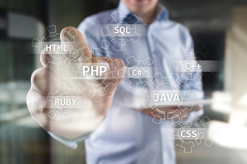 Web development tools concept on virtual screen. Programming language and scripts. PHP, SQL, HTML, Java and others. Web development tools concept on virtual stock photo