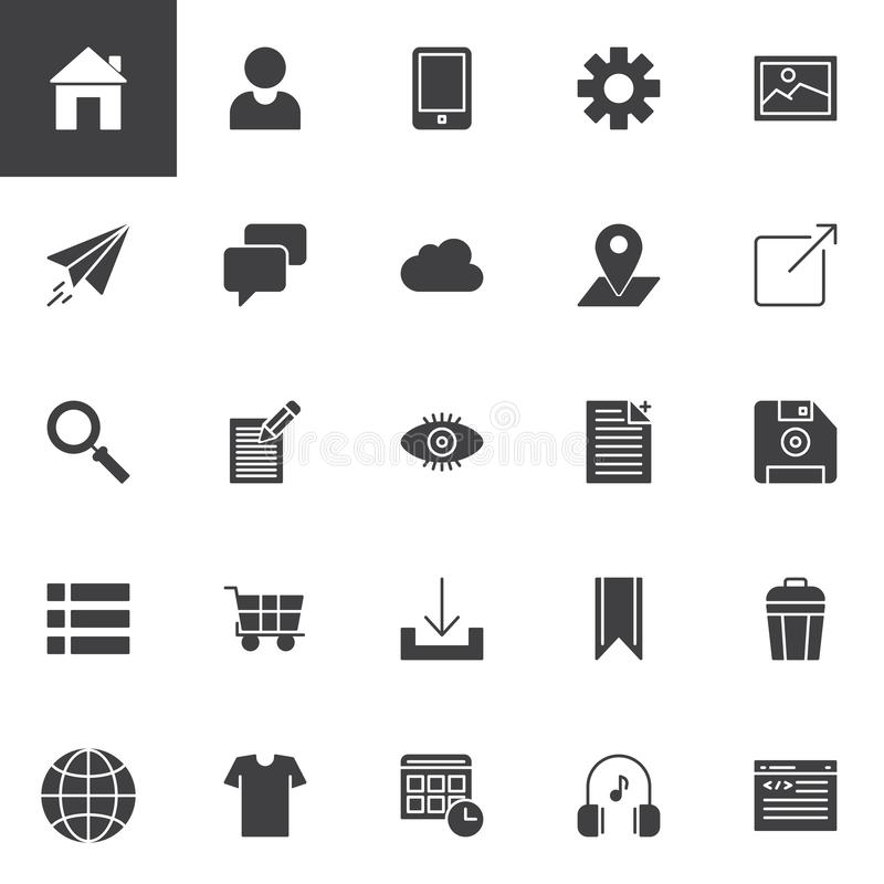 Web development vector icons set royalty free illustration