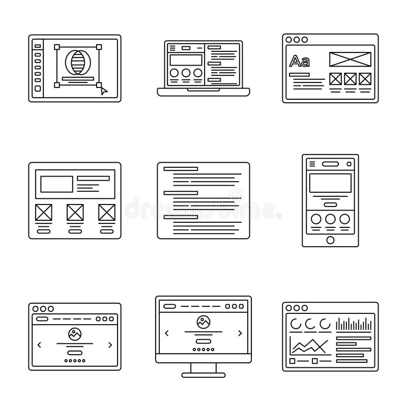 Web development and wireframes line icons set. Collection of outline illustrations for website or logo design template vector illustration