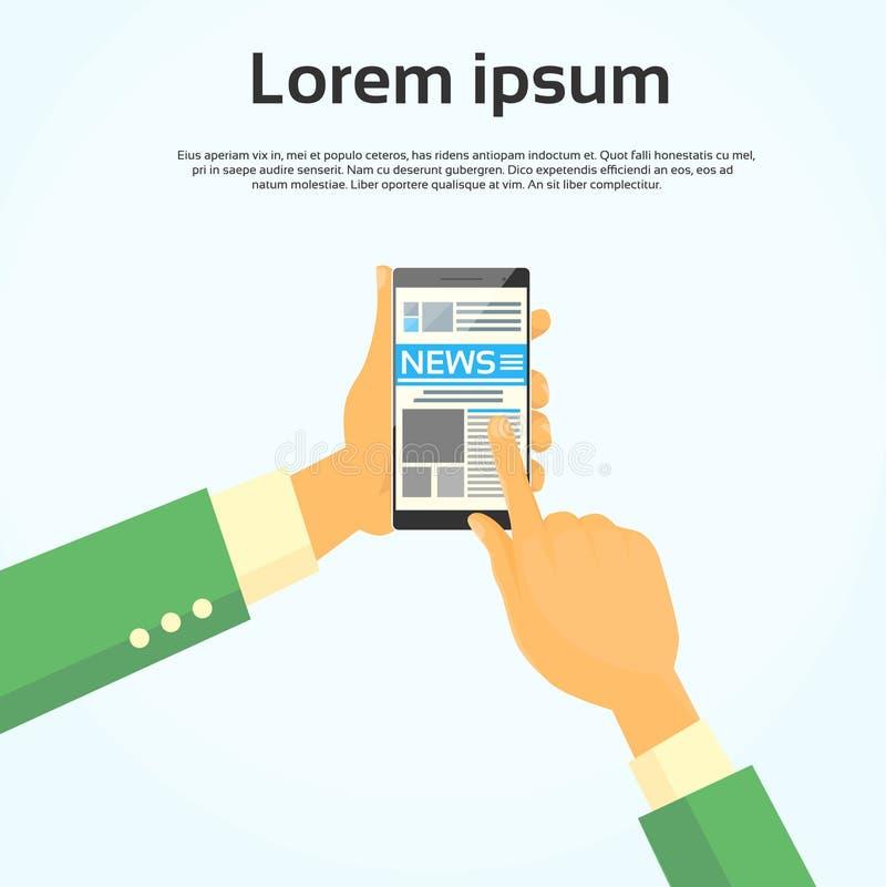Web di Internet di notizie dello Smart Phone della tenuta delle mani illustrazione vettoriale