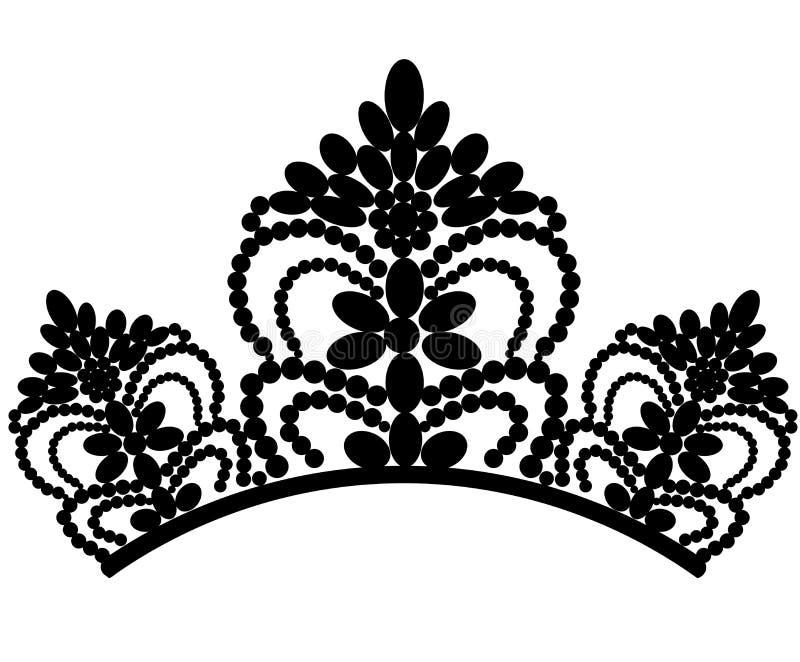 web diadem Mooie elegante luxe vrouwelijke tiara met bezinning op zwarte achtergrond wordt ge?soleerd die Vector vector illustratie