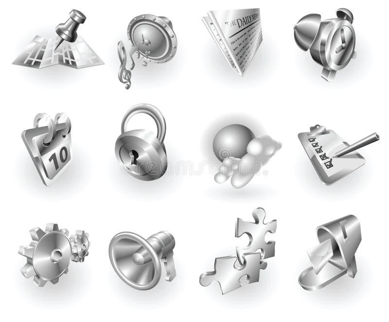 Web do metal e jogo metálicos do ícone da aplicação ilustração royalty free
