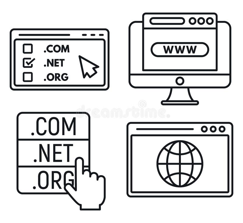 Web domain icons set, outline style vector illustration