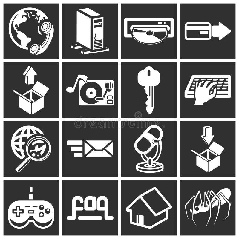 Web e ícones de computação ilustração royalty free