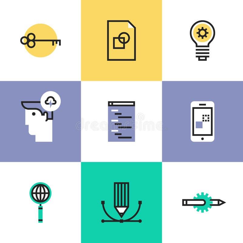 Web e ícones móveis do pictograma do desenvolvimento ajustados ilustração do vetor