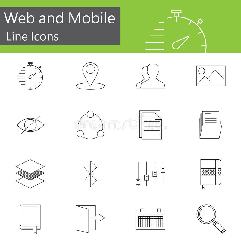 A Web e a linha móvel ícones ajustam, esboçam o vetor ilustração royalty free