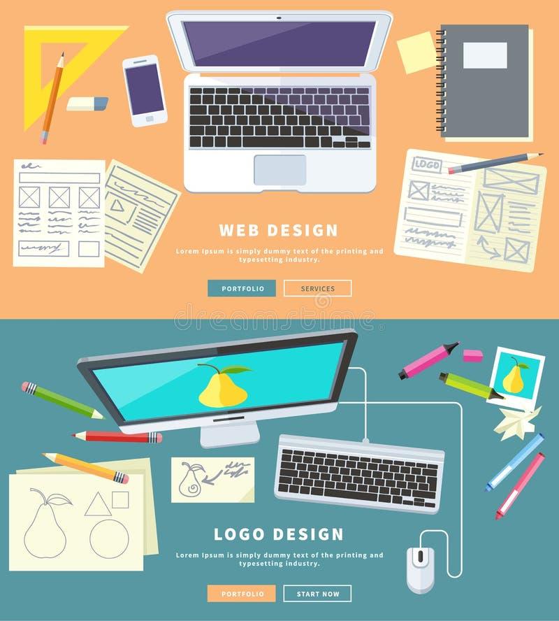Web e Logo Design ilustração stock