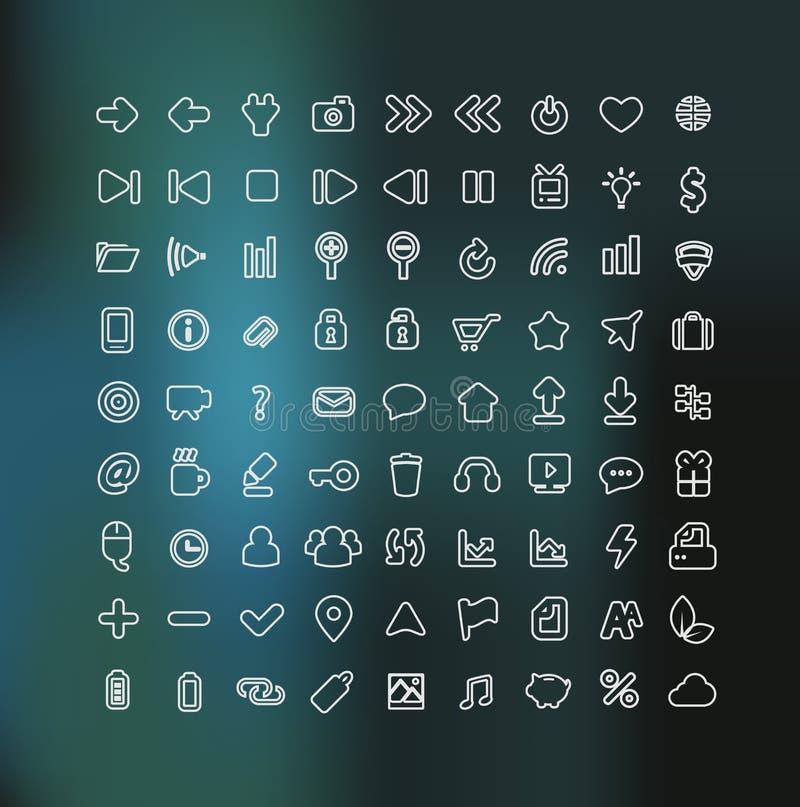 A Web e o ícone móvel ajustaram-se no esboço branco ilustração stock