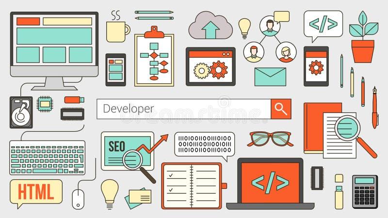 Web e programador de software ilustração stock