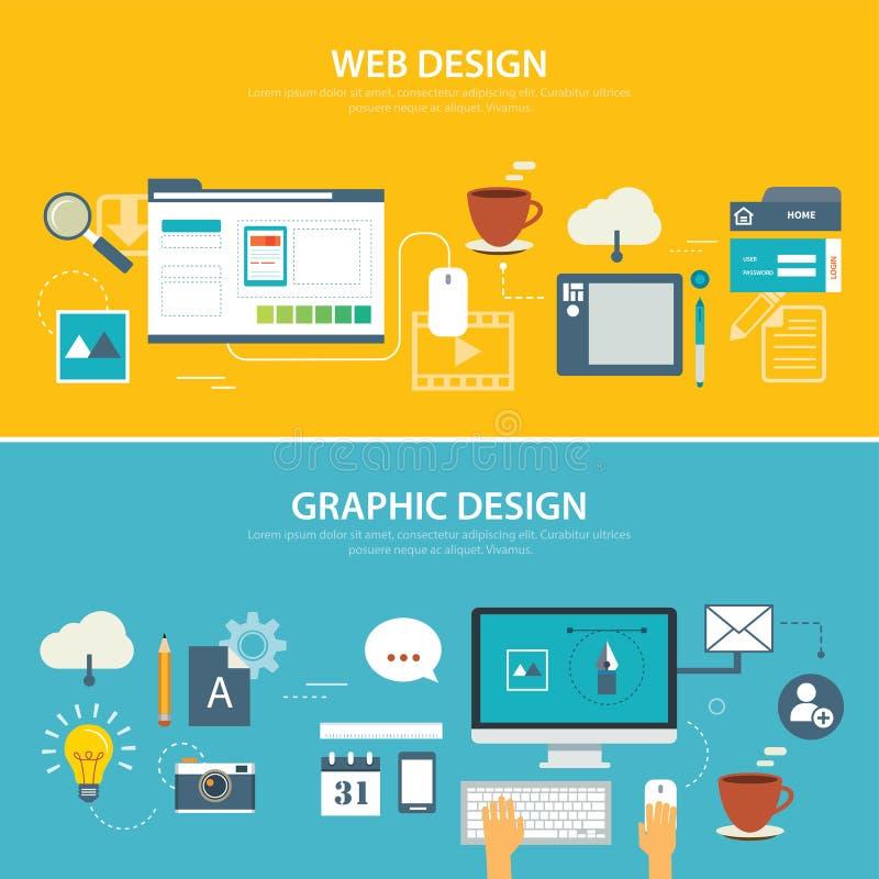 Web e projeto liso da bandeira do gráfico ilustração do vetor