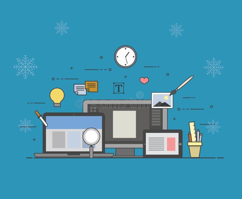 Web e projeto móvel e tornar-se no fundo do inverno ilustração royalty free
