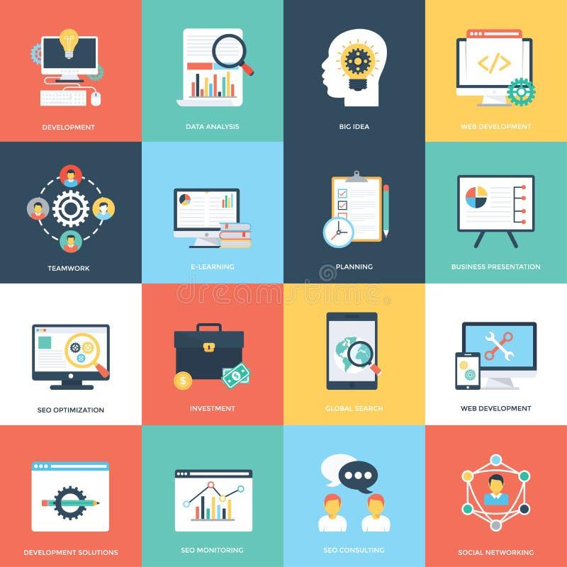 Web e Seo Flat Vector Icons royalty illustrazione gratis