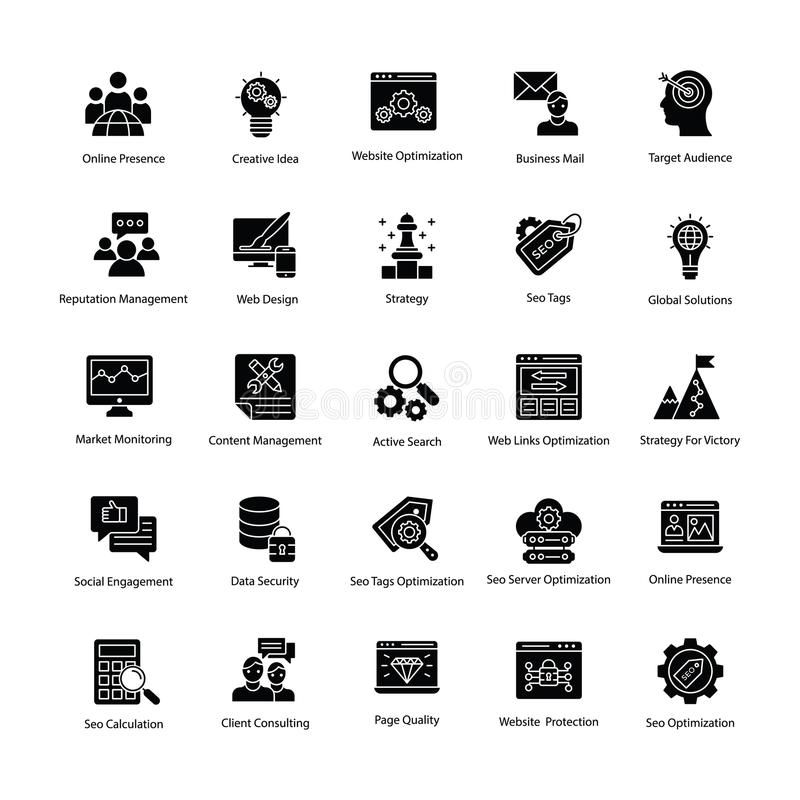 Web e Seo Glyph Vetora Icons ilustração royalty free