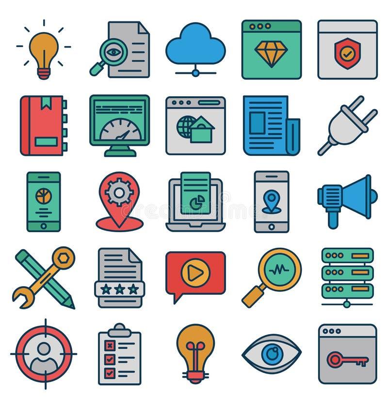 Web e SEO Isolated Vetora Icons Set que podem facilmente ser alterados ou editam Web e SEO Isolated Vetora Icons Set que podem se ilustração do vetor