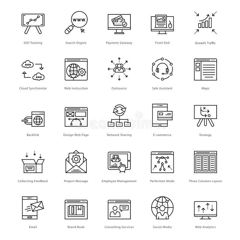 Web e SEO Line Vetora Icons 40 ilustração royalty free