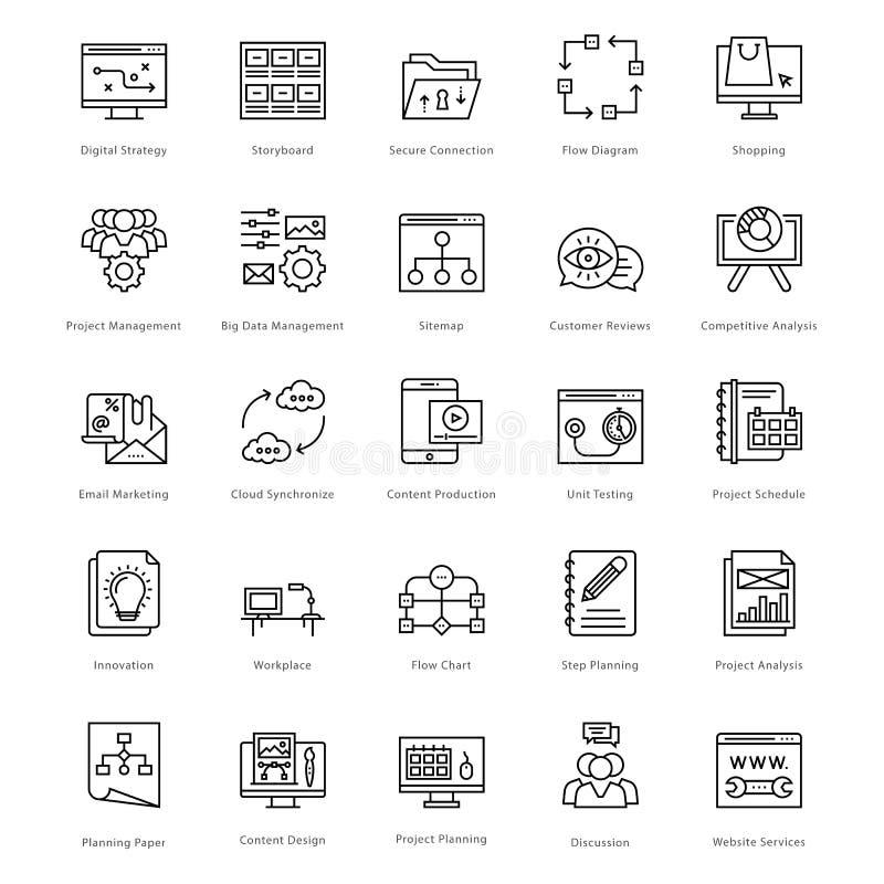 Web e SEO Line Vetora Icons 44 ilustração royalty free