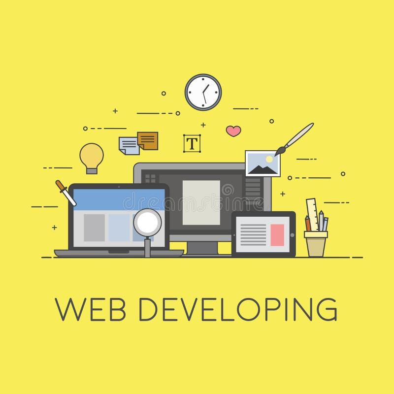 Web e tornar-se móvel Processo de tornar-se ilustração royalty free