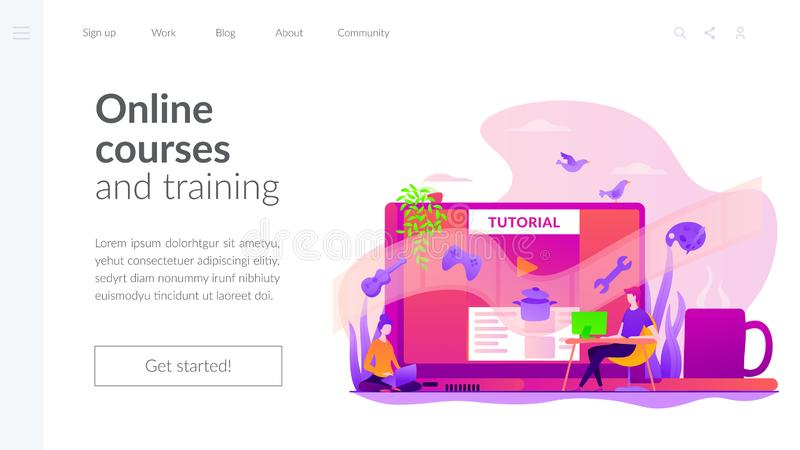 Video tutorial landing page template. royalty free illustration