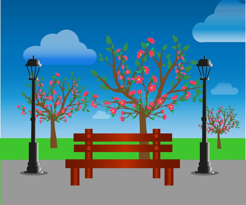 web El parque del verano de la ciudad con los ?rboles verdes bench, calzada y linterna Naturaleza del paisaje del parque del pueb ilustración del vector