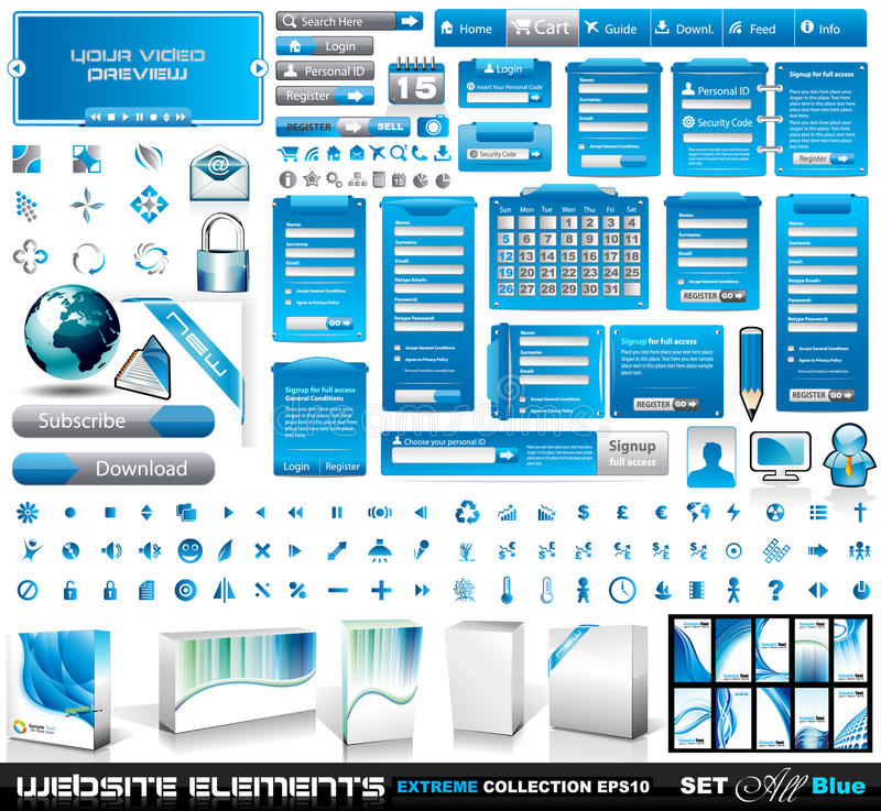 Web Elements EXTREME collection 2 All Blue. Login forms, bars,button, 100 more icos, 8 business cards, software boxes and so on
