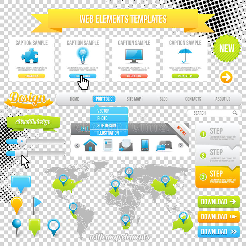 Web Elements Template, Icons, Slider, Banner and Buttons. Vector. Map with Marks