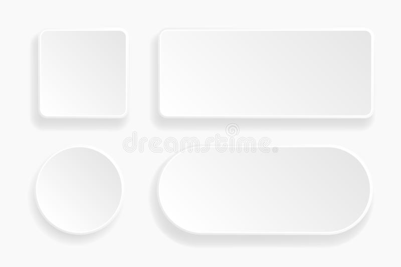 Web embossed 3d buttons. White blank 3d icons vector illustration