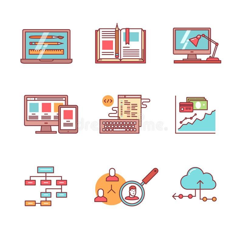 Web en app ontwikkeling, geplaatste programmeringspictogrammen vector illustratie