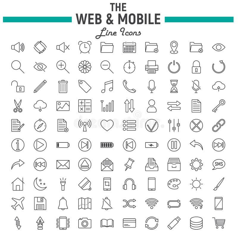 Web en de Mobiele reeks van het lijnpictogram, os interfacesymbolen stock illustratie