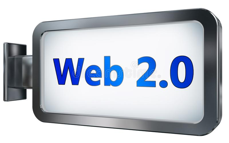 Web 2 0 en fondo de la cartelera stock de ilustración