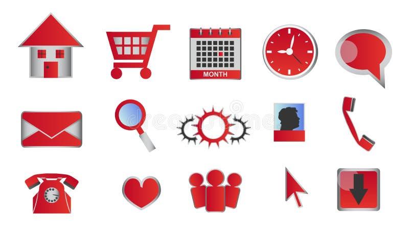 Web en glanzende rode pictogrammen en de knopen van verschillende media stock illustratie