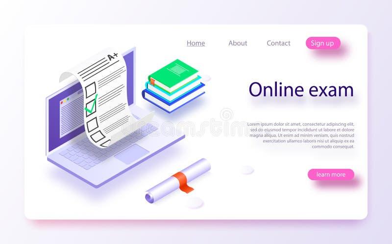 Web en línea app del ordenador del examen Ordenador portátil isométrico con la impresión del documento de papel de la pantalla libre illustration