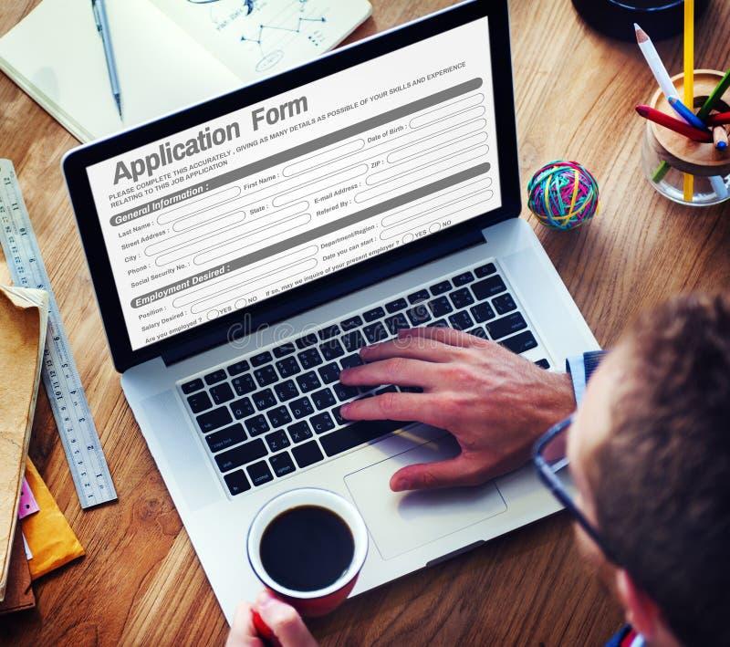 Web en línea Job Application Form Concept imágenes de archivo libres de regalías