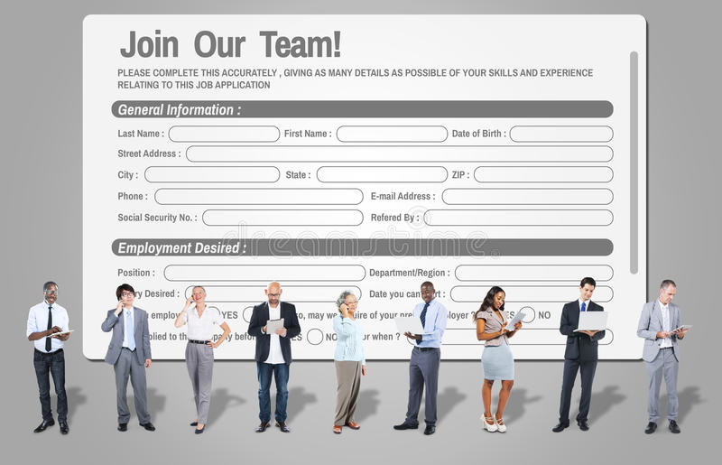 Web en ligne Job Application Form Concept image libre de droits