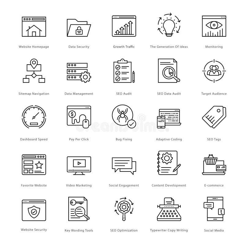 Web en SEO Line Vector Icons 6 vector illustratie
